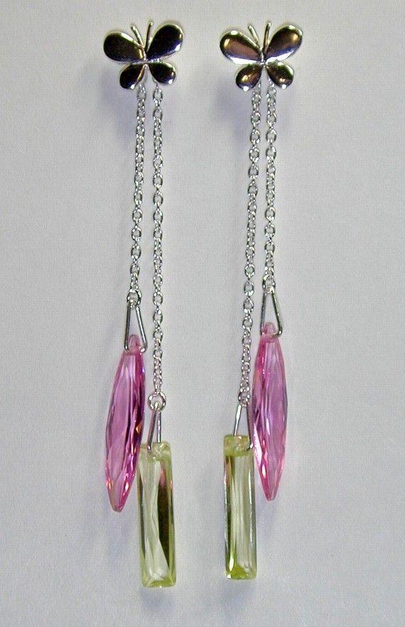 Sterling Silver Butterfly Earrings Dangling Cubic Zirconia Drops Pink Green