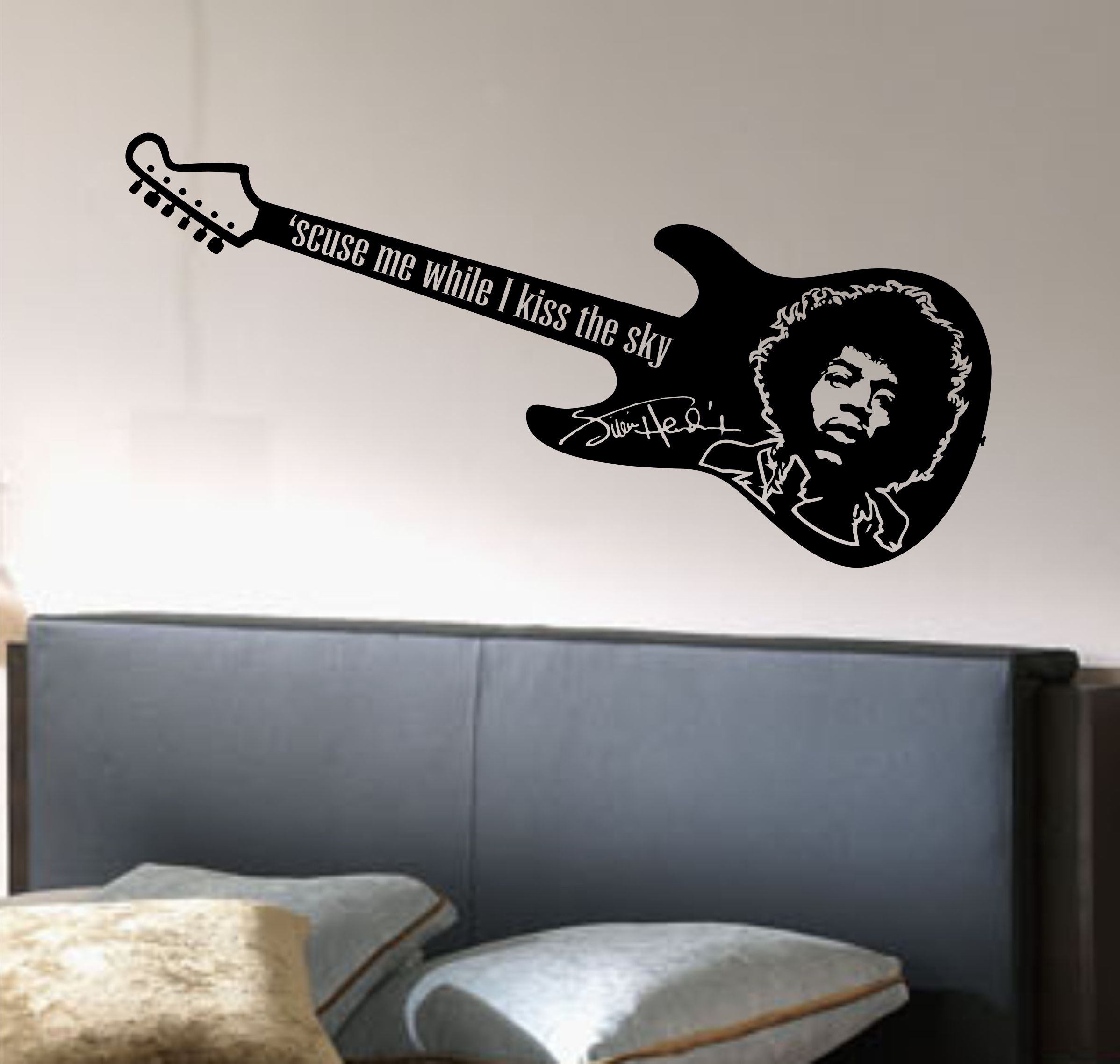 Jimi hendrix wall decal guitar vinyl sticker wall art mural jimi hendrix wall decal guitar vinyl sticker wall art mural 5ft long from amipublicfo Image collections
