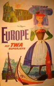 "David Klein <br /> EUROPE-Fly TWA superjets <br /> Affiche-Lithographie <br /> 25 ""x 40"" <br /> Signé <br /> <br />"