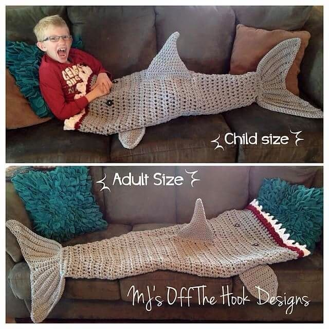 Shark blanket | Grands! | Pinterest | Tiburones, Cobija y Tejido