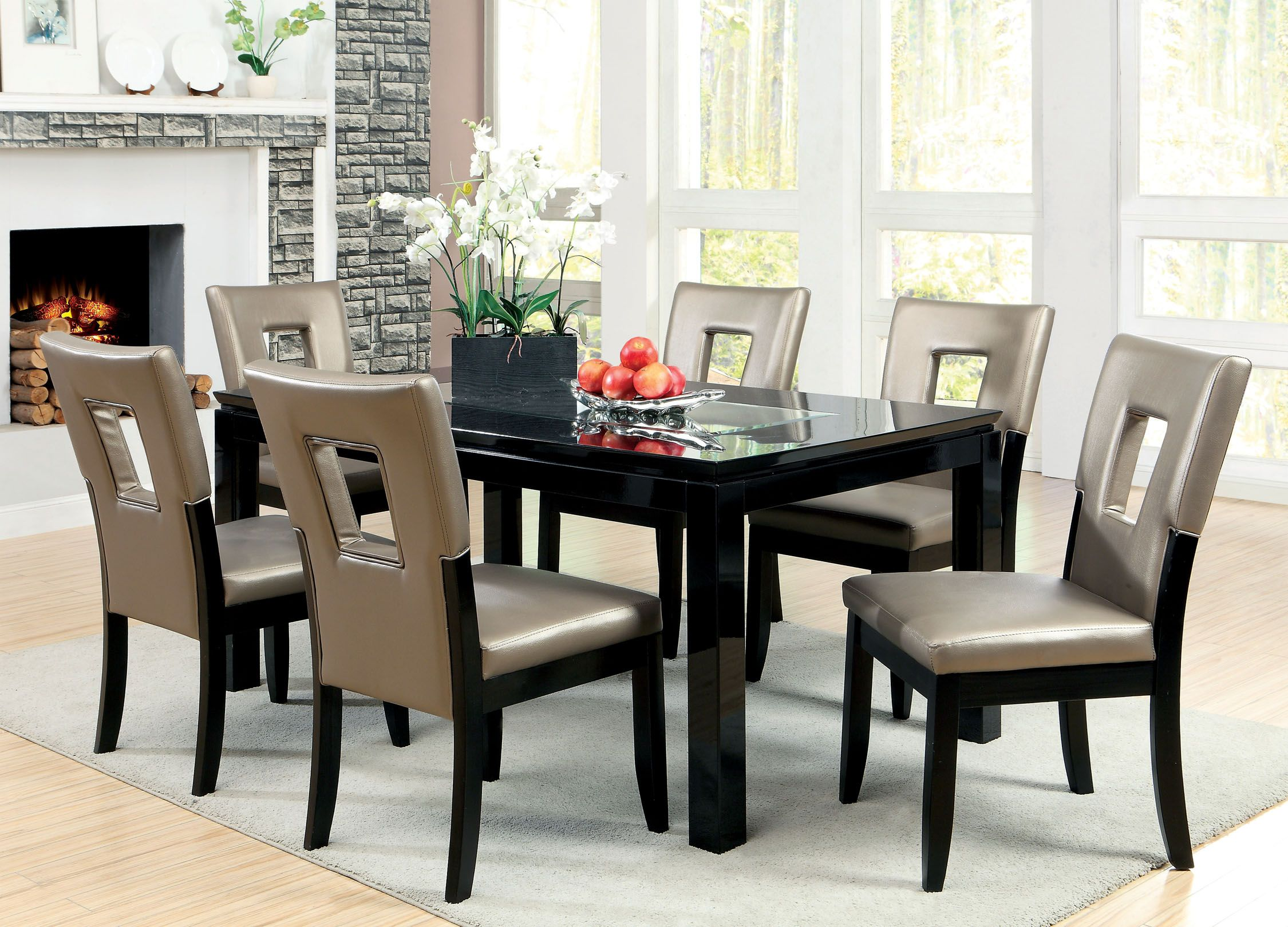 Beau Furniture Of America Marjesko 7 Piece Black Glass Top Dining Set