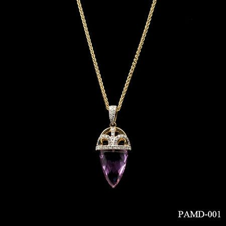 A beautifully crafted amethyst teardrop pendant with diamond embellishment on a 9ct yellow gold chain. £350