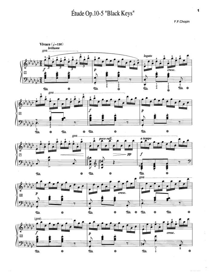 Chopin S Op 10 No 5 Black Keys Sheet Music For Piano With Images
