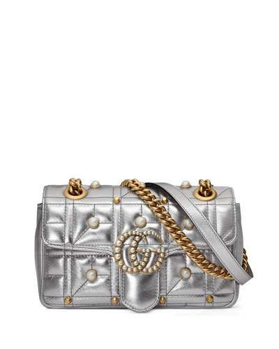 010ae561f2a8ab GUCCI Pearly Stud Gg Shoulder Bag, Silver. #gucci #bags #shoulder bags # leather #lining #metallic #