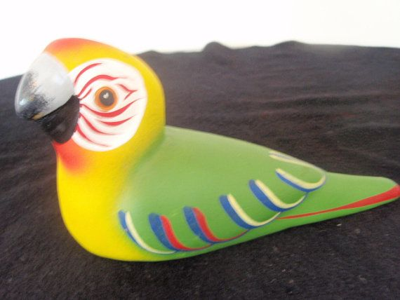 Mexican Pottery Parrot  Hand painted by SocialmarysTreasures, $8.00