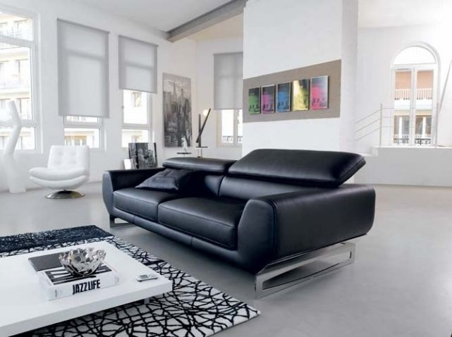 salon noir blanc canape tampico cuir center d coration. Black Bedroom Furniture Sets. Home Design Ideas