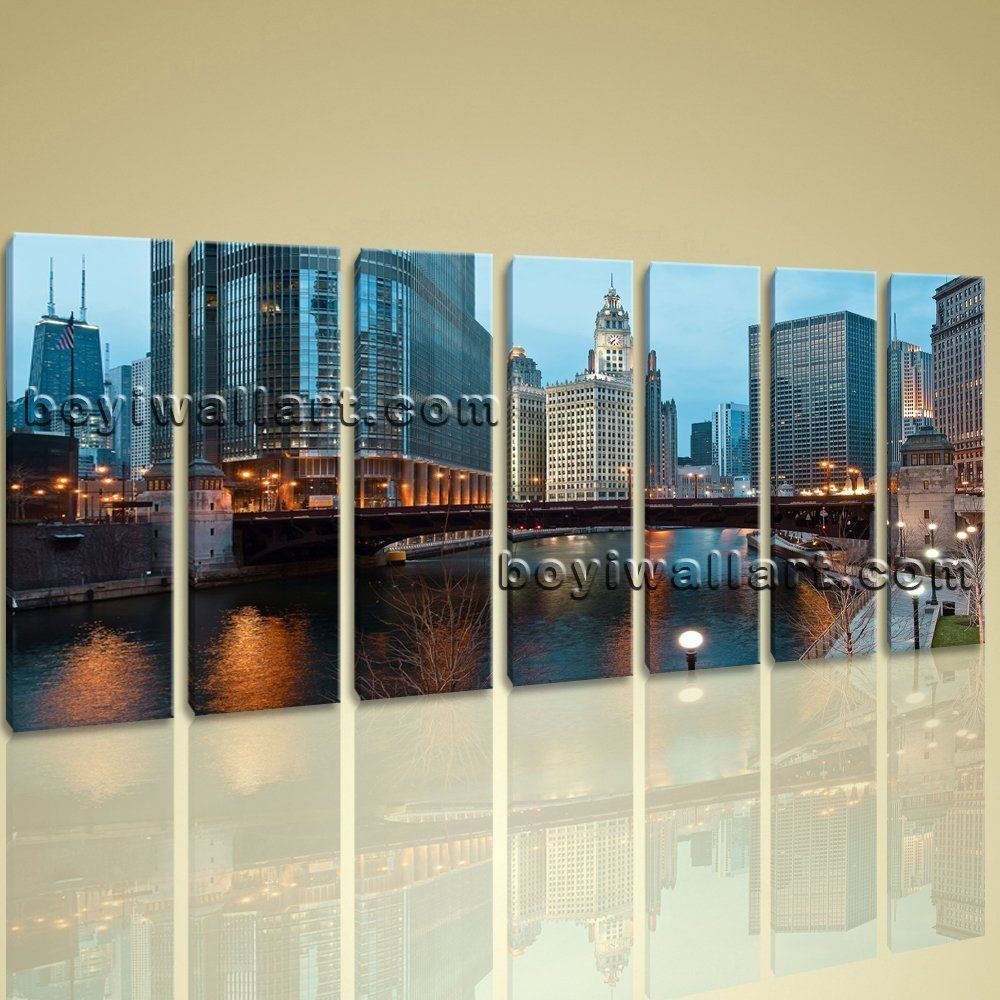 Chicago Wall Art extra large contemporary landscape wall art print canvas chicago