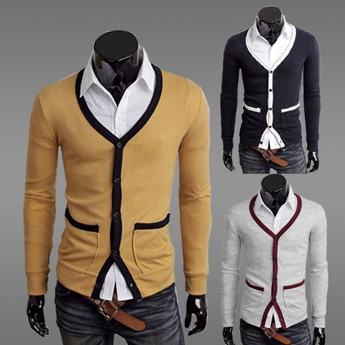 New Mens Vest,Mens Fashion Clothing Slim Cardigan V-neck Male ...