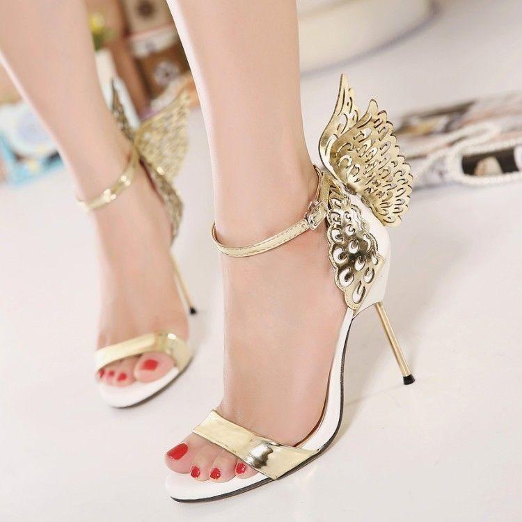Women'S Back Butterfly Open Toe High Stilettos Heels Ankle ...