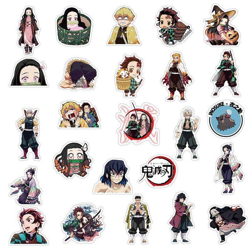 50pcs Demon Slayer Kimetsu No Yaiba Anime Sticker Cosplay Props Pvc Waterproof Diy Guitar Car Tanjirou Nezuko Decal Stickers Anime Stickers Cosplay Props Anime