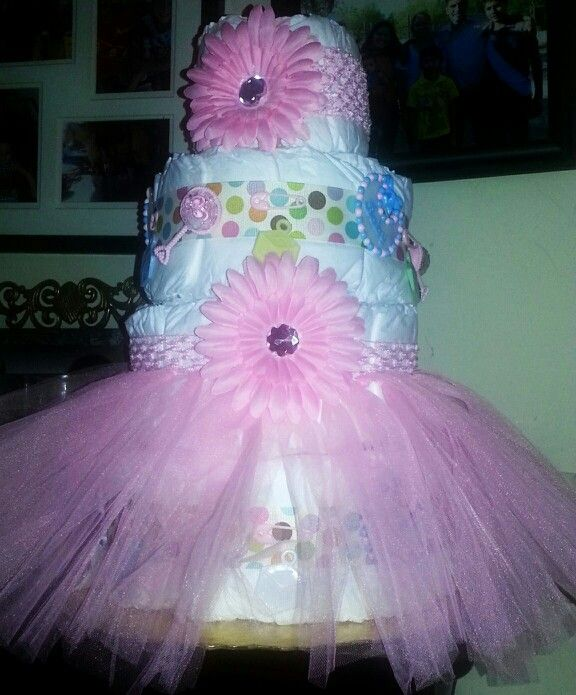 Pink Tutu Diaper Cake