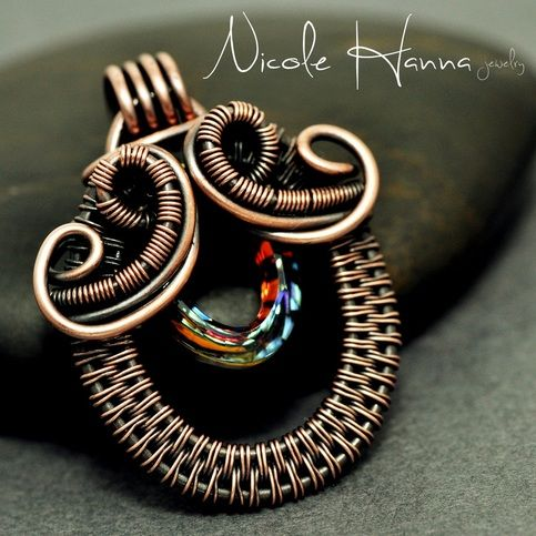 Wire Wrapped Steampunk Handlebar Mustache Copper Pendant
