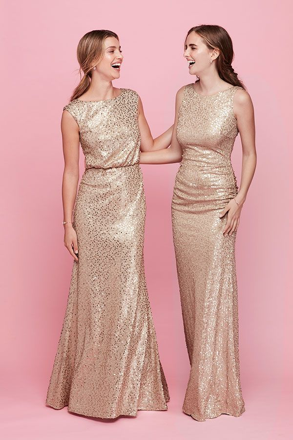 For a glamorous black-tie wedding, pick gold sequin bridesmaid ...