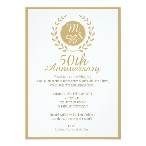 50th Wedding Anniversary Invitation Anniversary Invitations