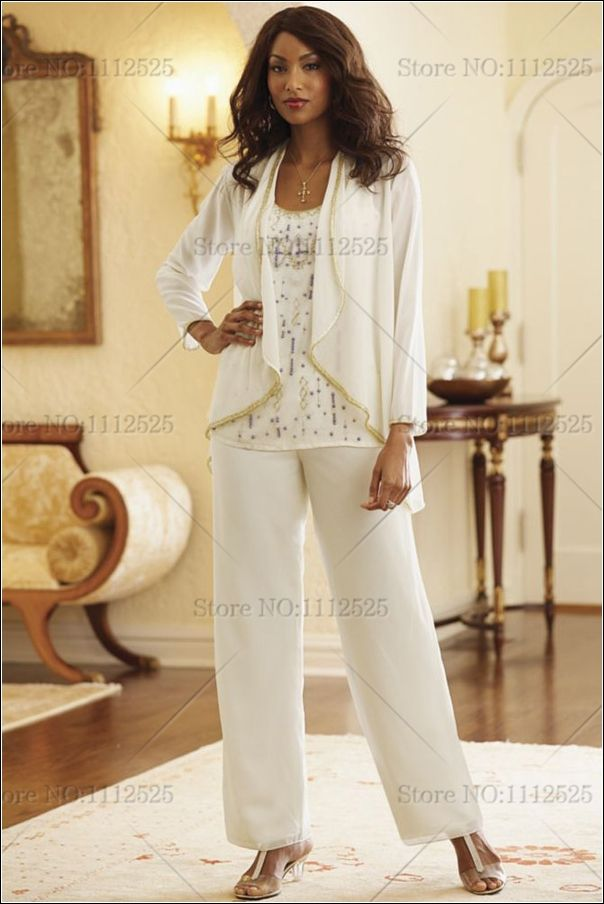 3 piece Ivory Chiffon mother of the bride pants suit with Beading ...