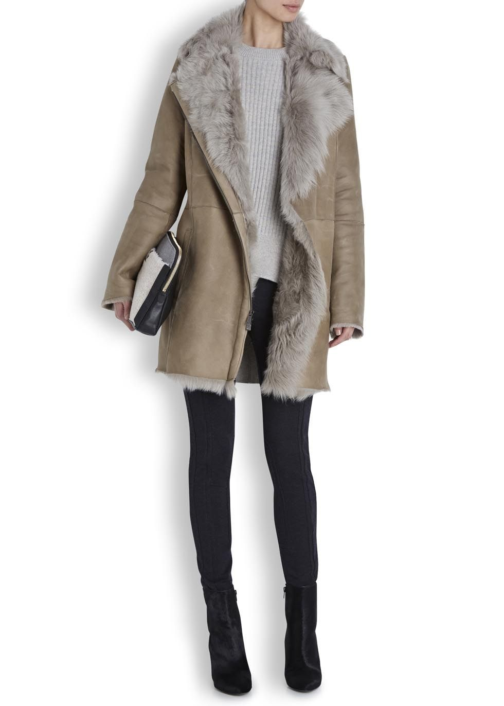Vince Taupe toscana shearling coat | Shearling coat, Taupe and Coats
