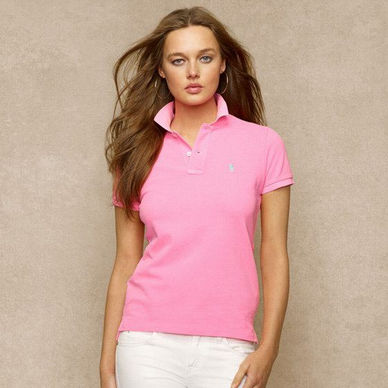Skinny Lauren Ralph Fit OnlinePopped Polo Shirt Pink Outlet f6Yyb7gv