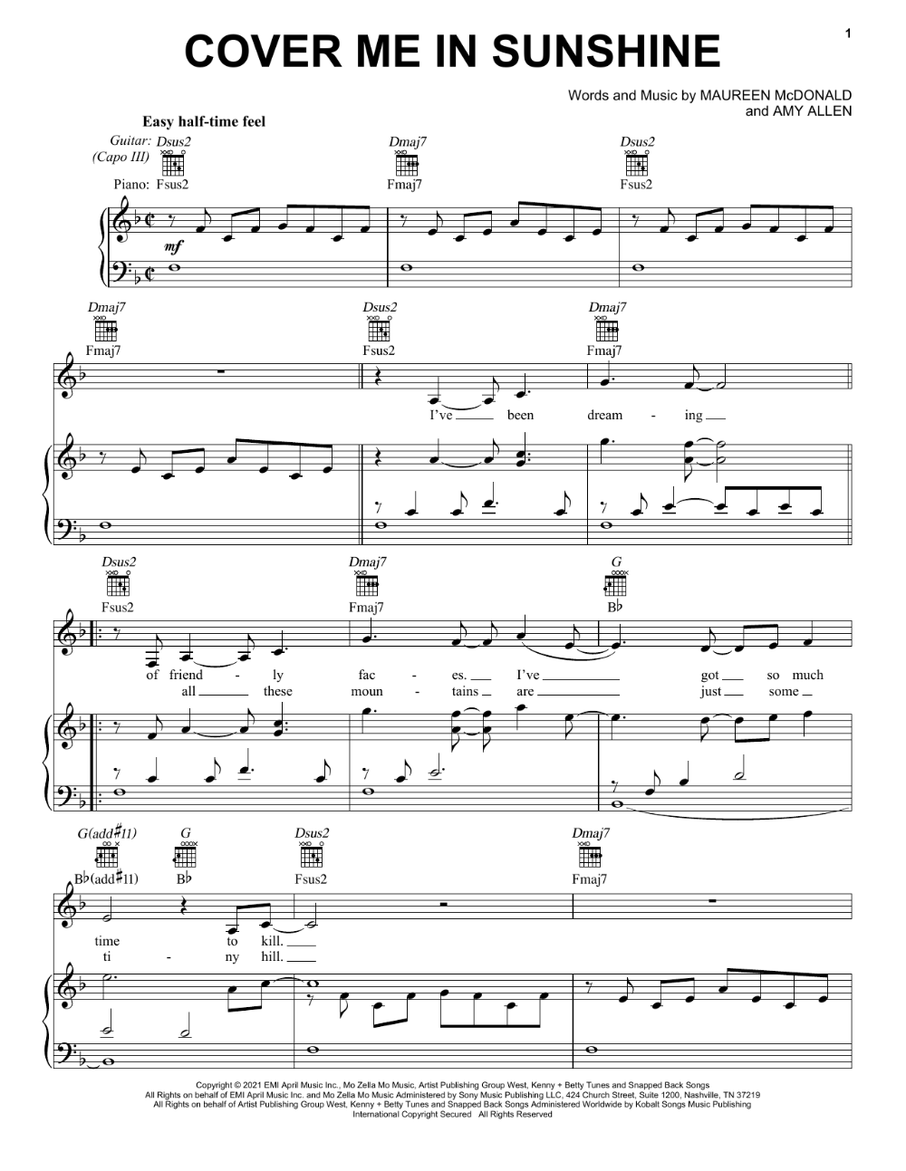 P Nk Willow Sage Hart Cover Me In Sunshine Sheetmusic 480321 In 2021 Sheet Music Notes Willow Sage Hart Sheet Music
