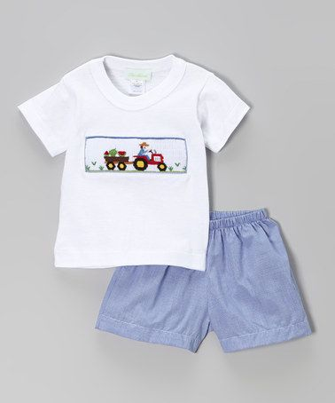 Loving this White Tractor Tee & Royal Blue Shorts - Infant, Toddler & Boys on #zulily! #zulilyfinds