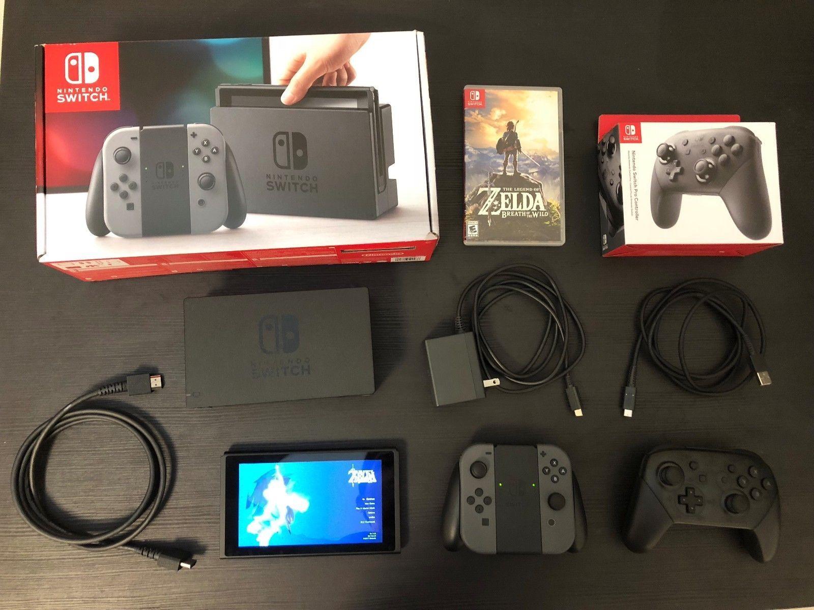 Nintendo Switch 32gb Gray Console With Grey Joy Con Controllers Bundle