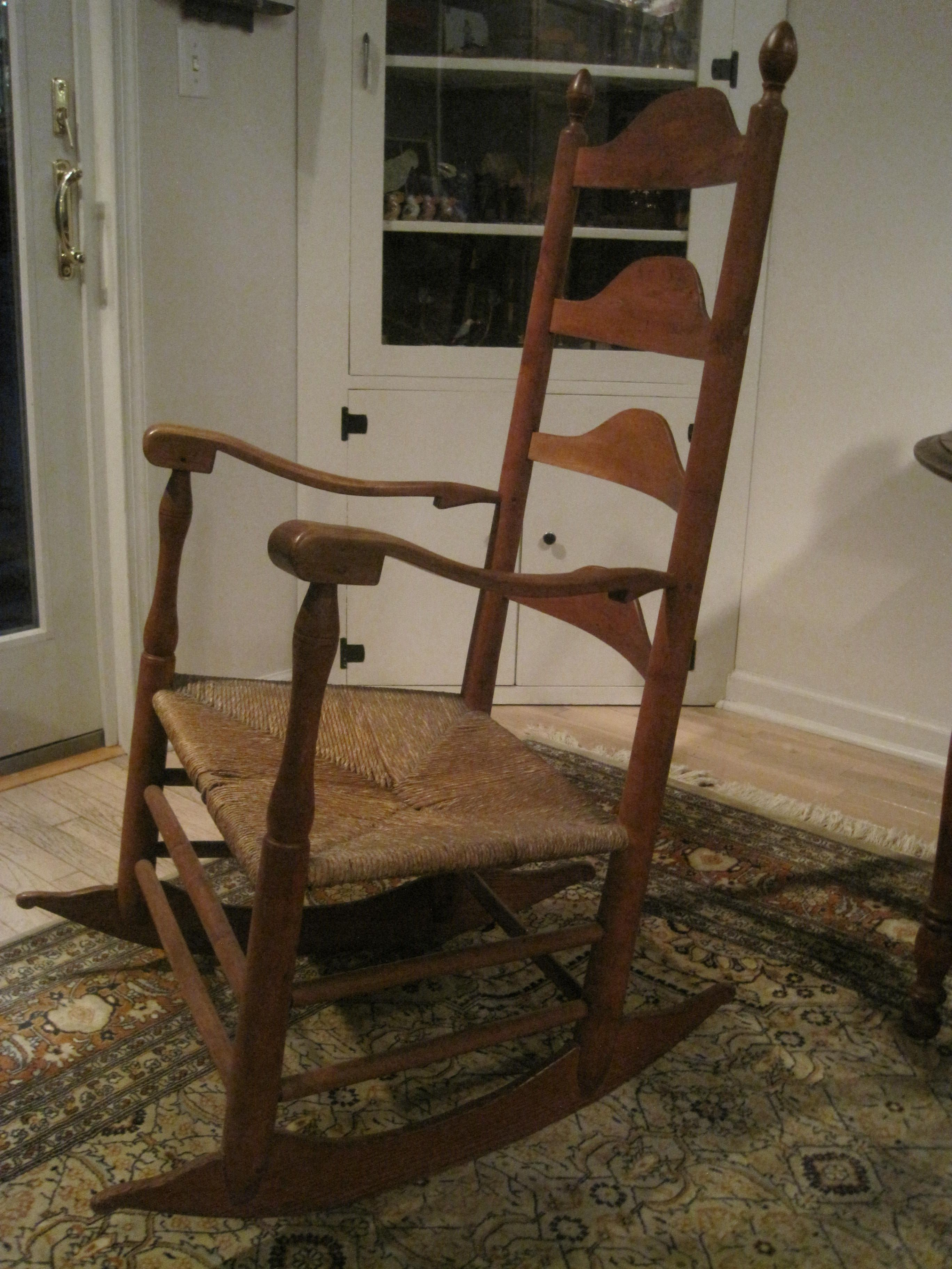 Shaker Schaukelstuhl Antique 1800s New England Shaker Ladder Back Elders