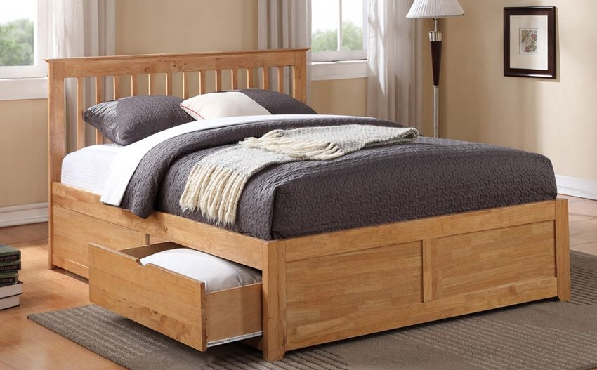 Best Pentre Wooden Bed Double With Drawers Bed Frame With 640 x 480
