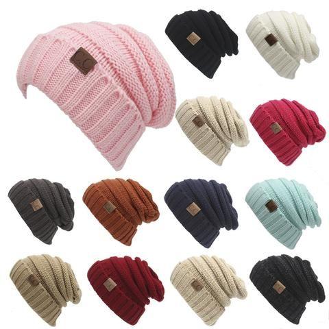 CC Ponytail Beanie Hat Women Crochet Knit Cap Winter Skullies Beanies Warm  Caps Female Knitted Stylish Hats For Ladies Fashion 6e191f87d3f0
