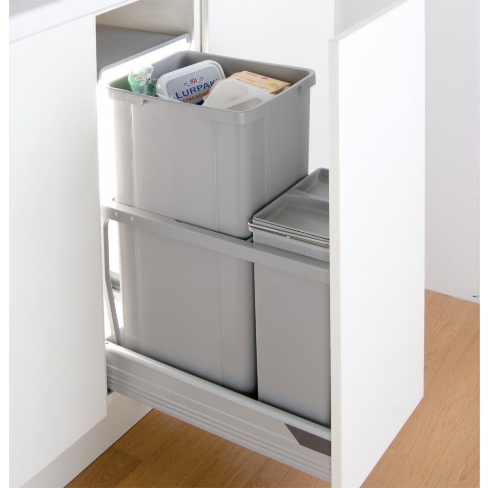 wesco in cupboard 42l recycling bin for 300mm pull out. Black Bedroom Furniture Sets. Home Design Ideas