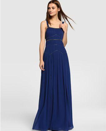 82b433f52 Vestido de fiesta de mujer Tintoretto azul marino con strass ...