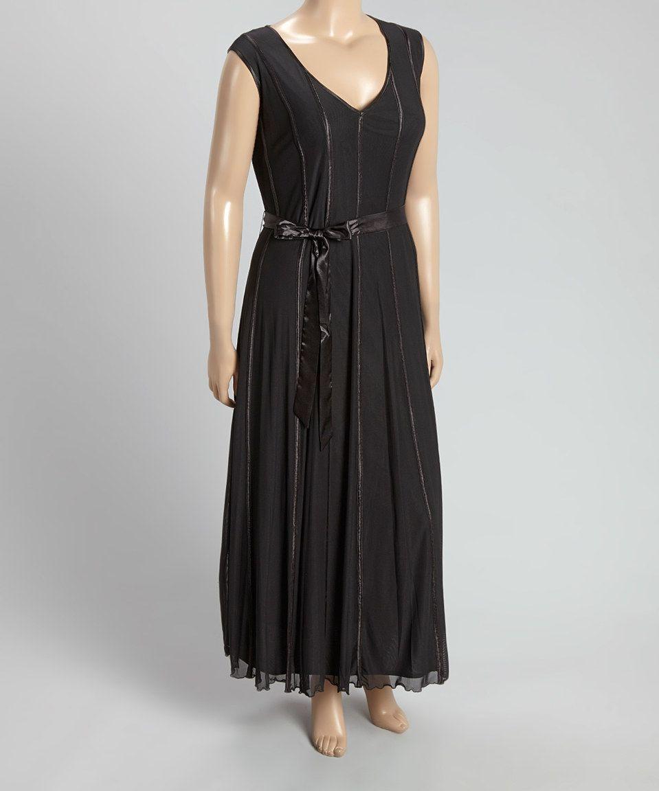 Sl fashions black vneck maxi dress plus by sl fashions zulily