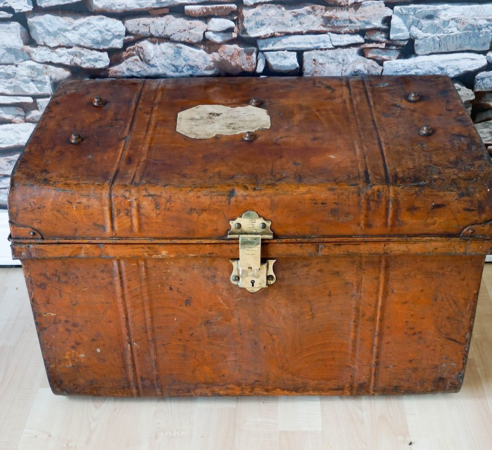 tree trunk furniture for sale. Victorian Vintage Railway Trunk Old Tin Metal Chest Coffee Table Tree Furniture For Sale