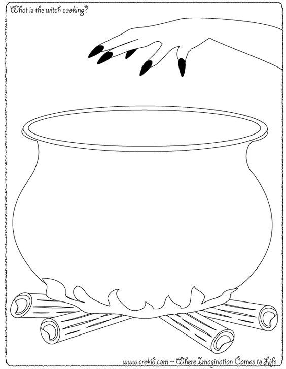 Witch Pot Coloring Page Halloween What Is The Witch Cooking