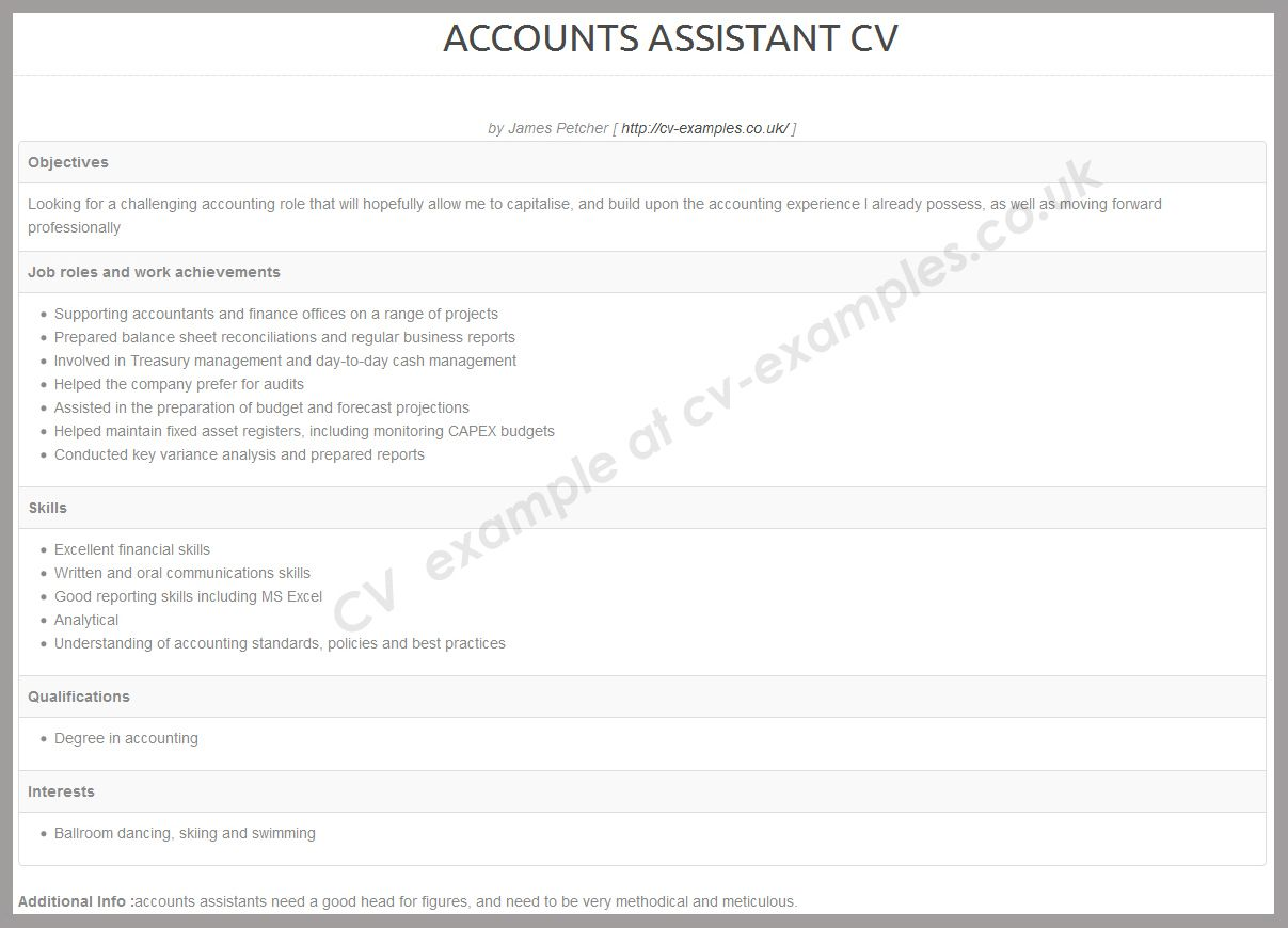 Accounts Assistant CV Cv Examples Free Resume Sample Diagram Accounting