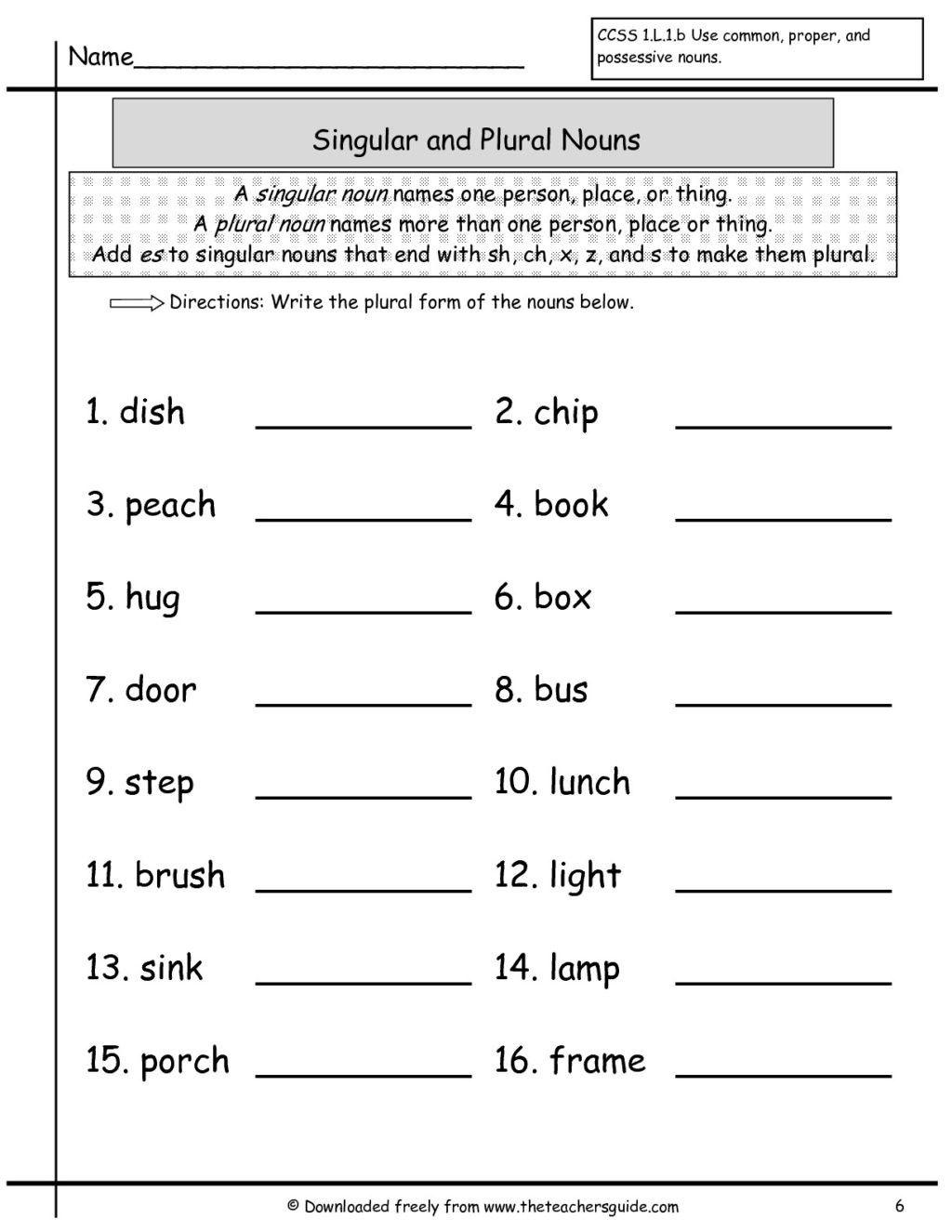 Plural Worksheets For Kindergarten