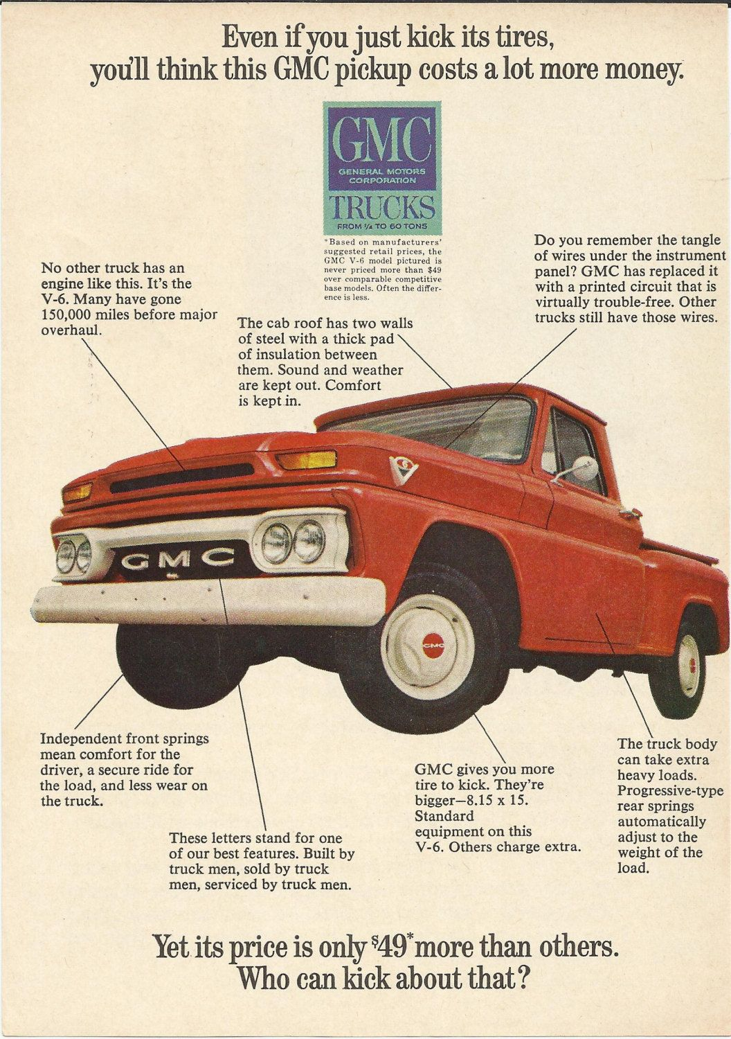 Gmc Pickup Truck Original 1965 Vintage Print Ad Color Illustration