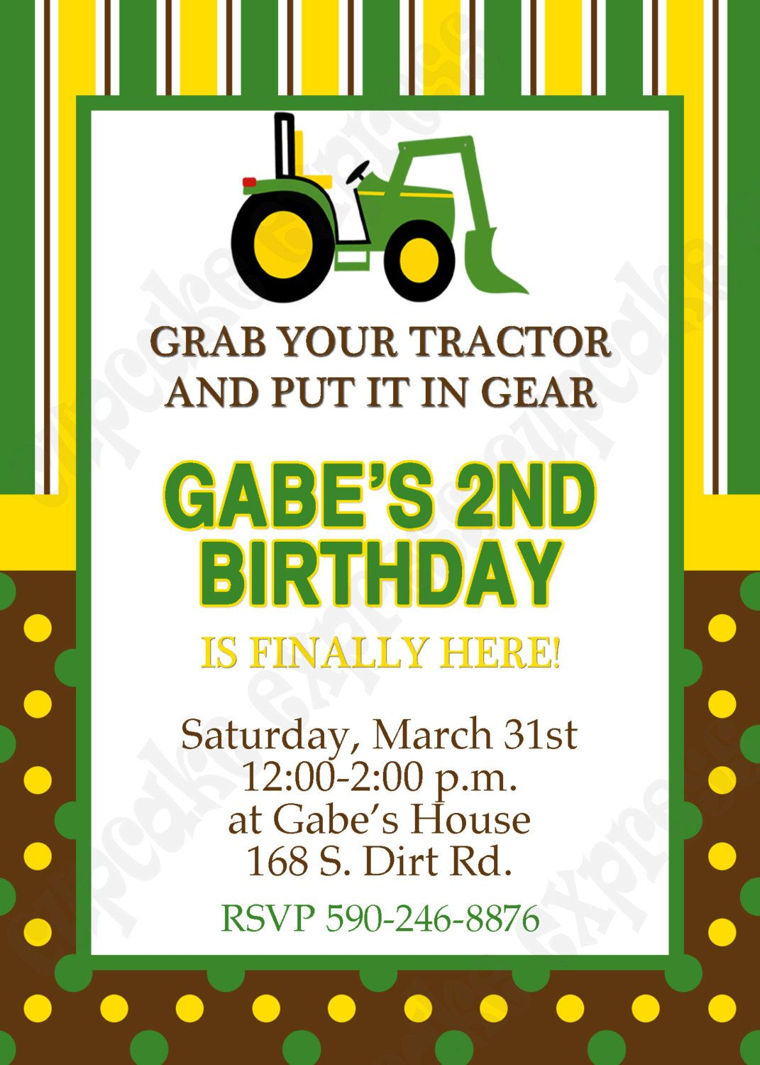 DIY John Deere 1 PRINTABLE Birthday Party Invitation Green Brown Yellow Tractor 1000 Via Etsy