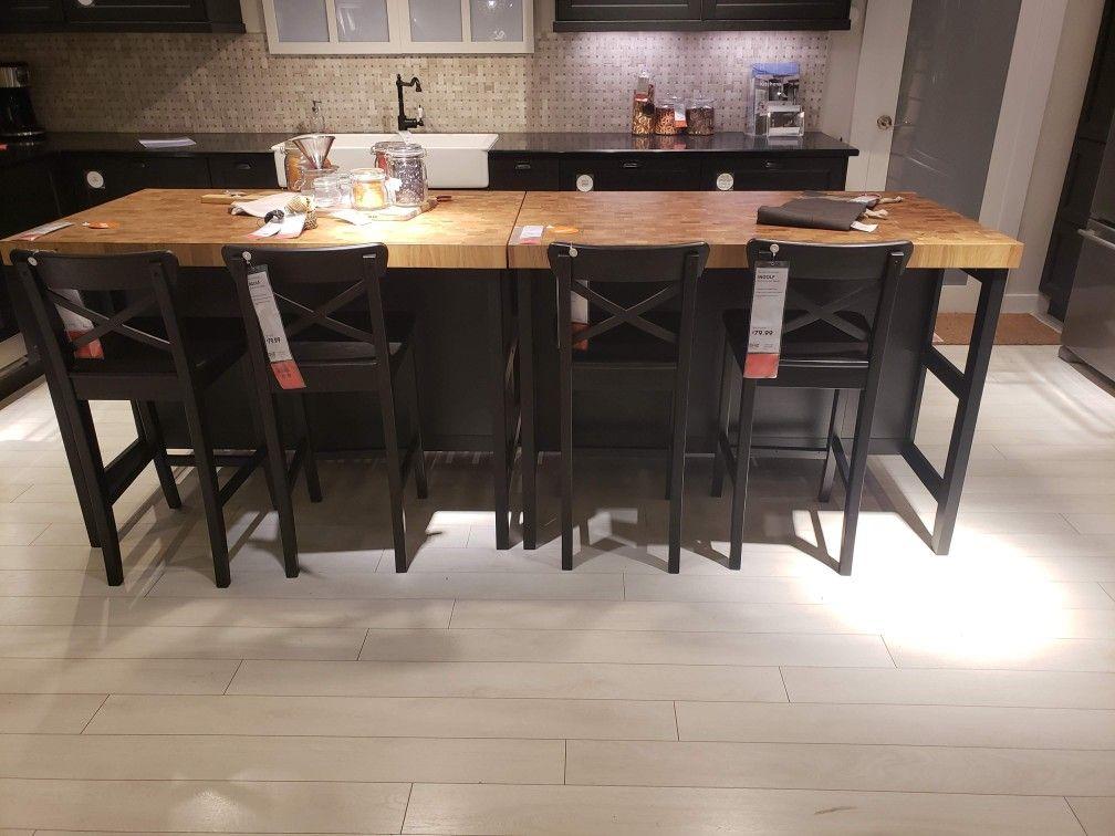 Ikea vadholma kitchen island black oak in kuhinja
