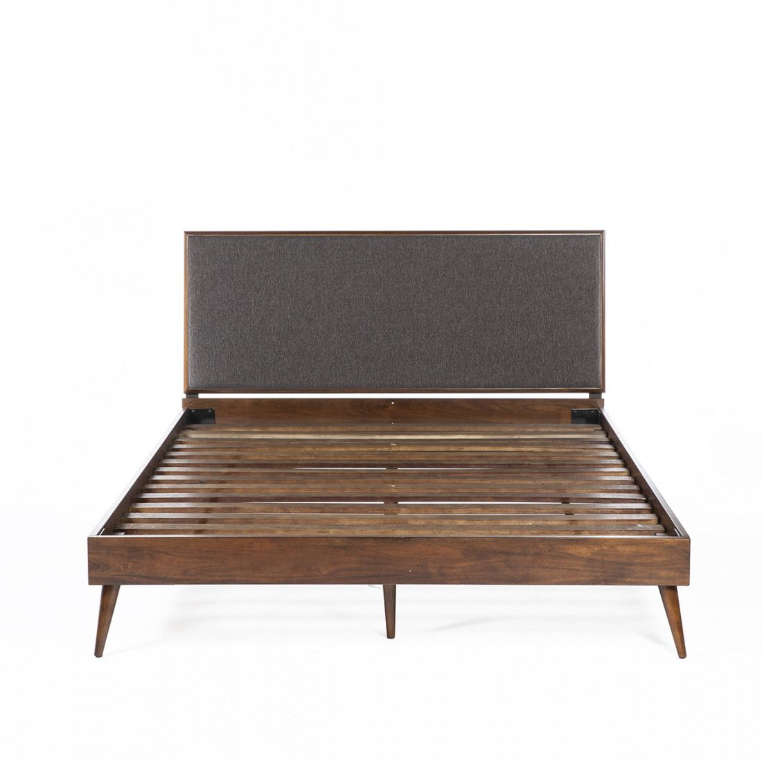Mid Century Modern Jorgen Ii Queen Bed With 14 Wood Slats And