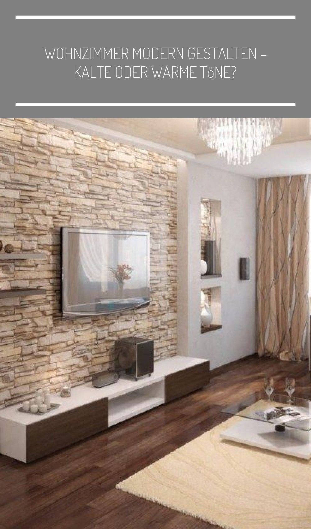 Wohnzimmer Modern Gestalten In 2020 Dining Room Wallpaper Natural Stone Wall Brown Living Room