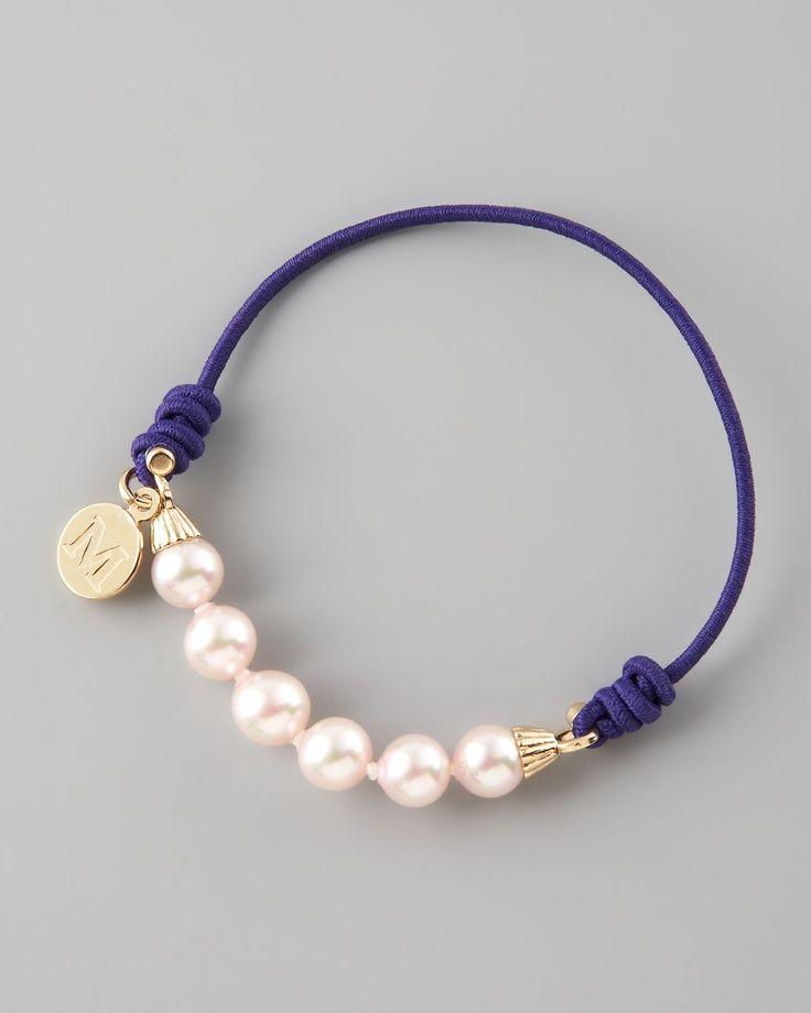 1c381b7c01f7 pulsera de perlas Majorica elástica. Simple