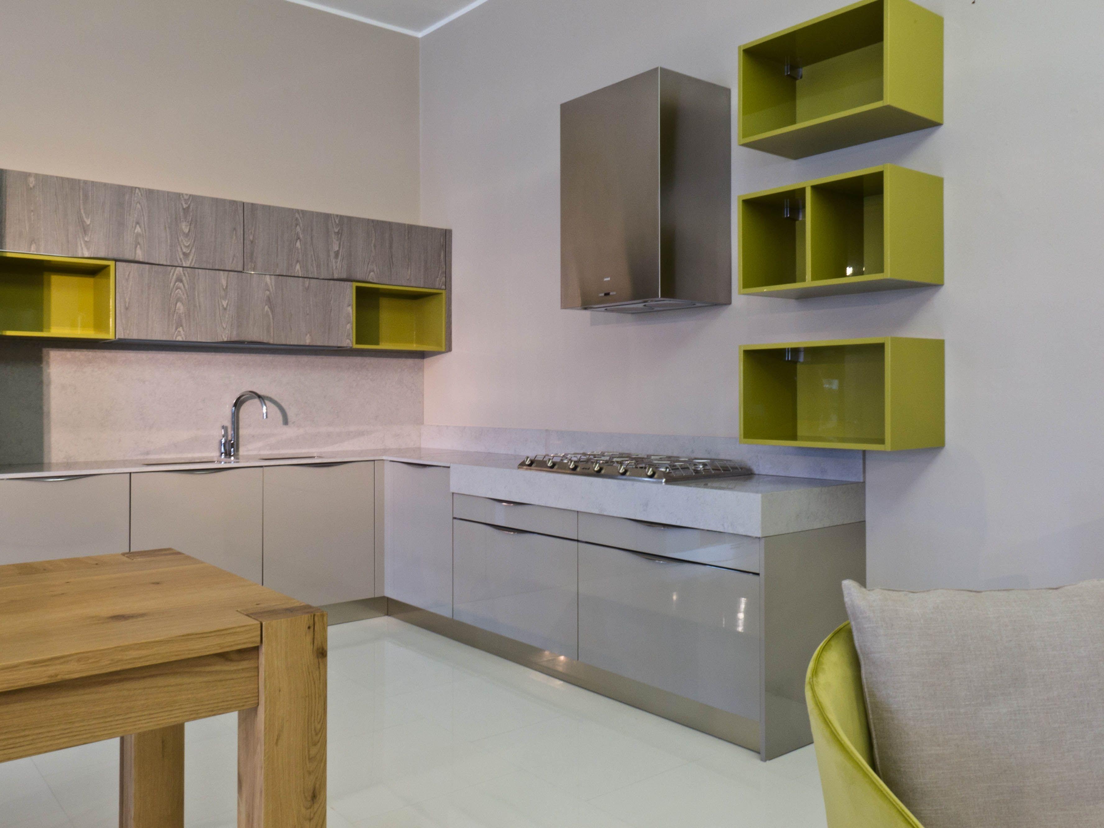 Cucina Duna polimerico lucido tortora, piano okite | green interior ...