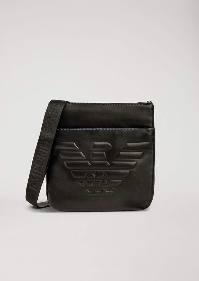 a1295f697808 Emporio Armani Faux Leather Crossbody Bag With Maxi Logo