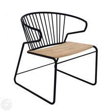 Gabbia - Fauteuil Universo Positivo en métal et assise en bois