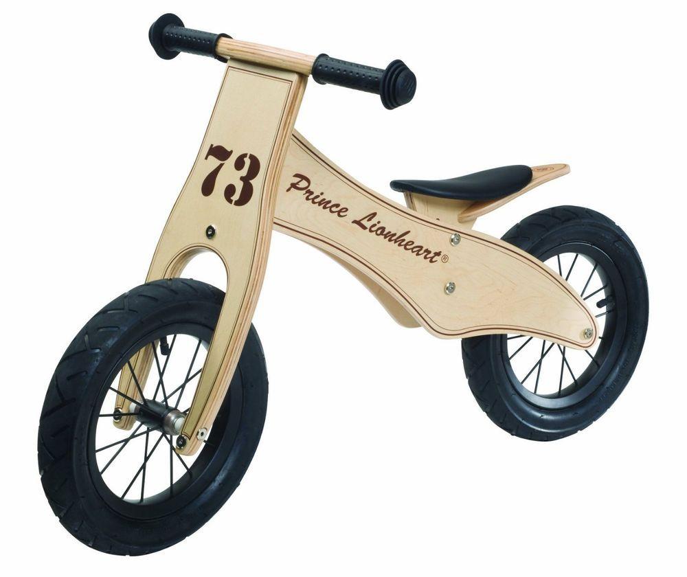 New Prince Lionheart Kids Wooden Balance Bike Adjustable Seat
