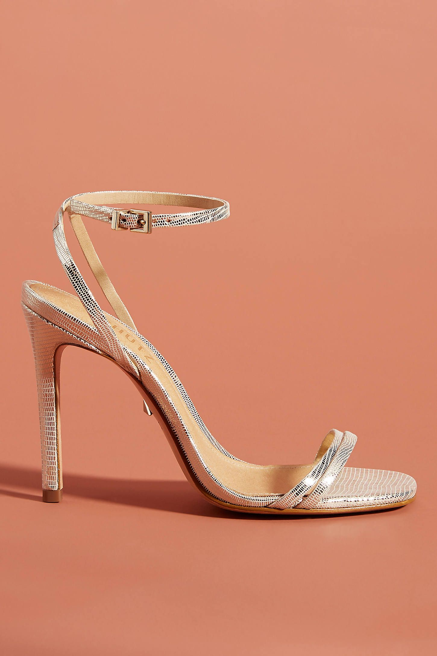 Schutz Altina Strappy Heels By In Gold Size 9 5 At Anthropologie In 2020 Strappy Heels Heels Mules Shoes