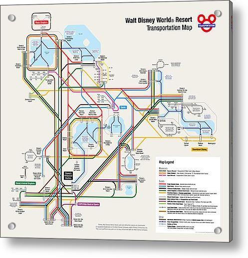 Walt Disney World Resort Transportation Map Acrylic Print by Arthur ...