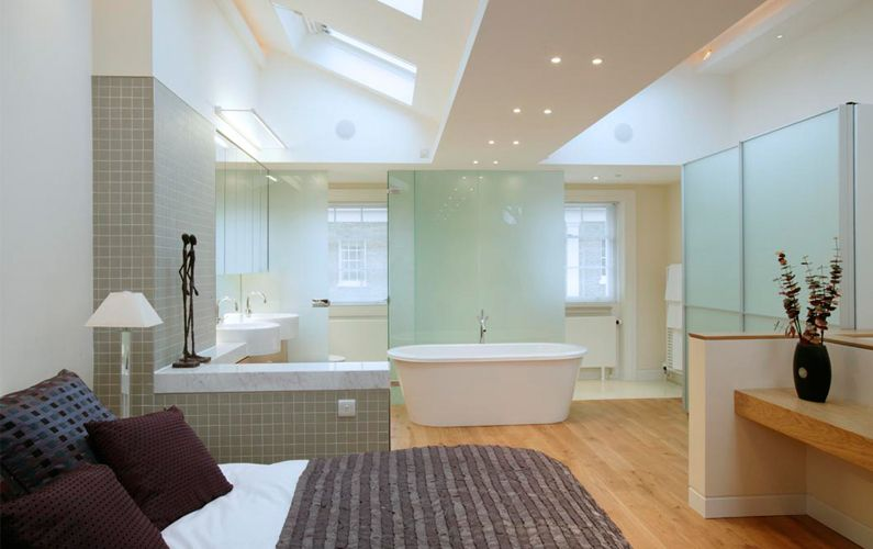 Master Bedroom Extension Ideas an open plan ensuite with a simple dividing wall | kensington
