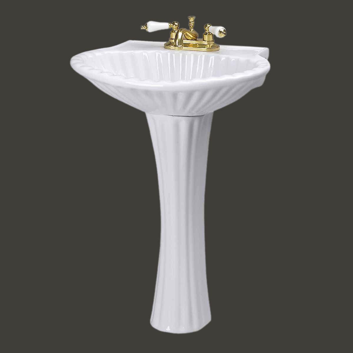 Bathroom Pedestal Sink White China Sea Shell