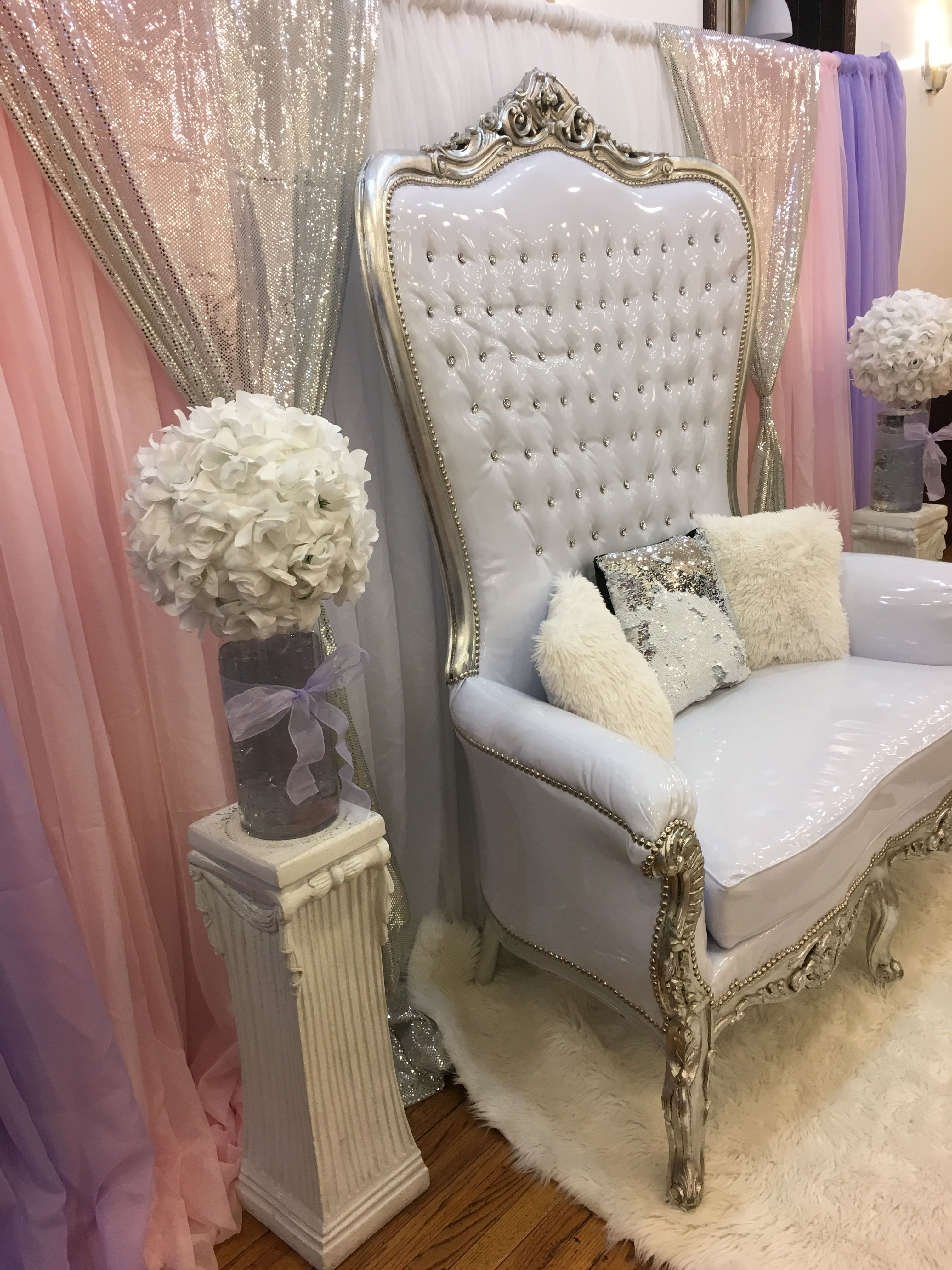 Mommy Area White Rug Throne Chair And Draped Backdrop Pink White