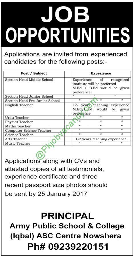 Army Public School & College Nowshera Jobs Latest Advertisement 23